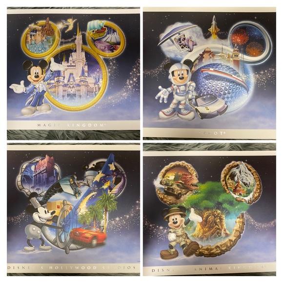 Disney Wall Art Set Of 4 Authentic Prints Poshmark